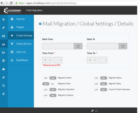 Mail Migration Global Settings