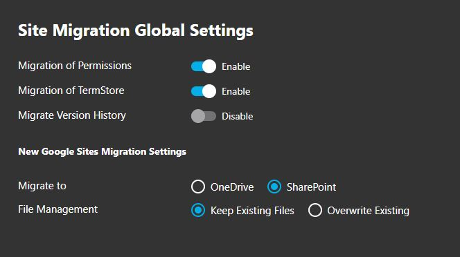 Google Sites Migration Global Settings