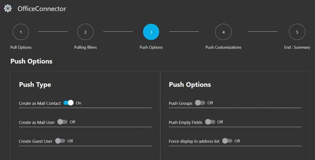 GALSync Office 365 Push Options