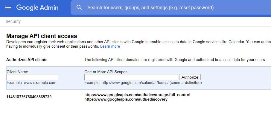 Vault Manage Google API
