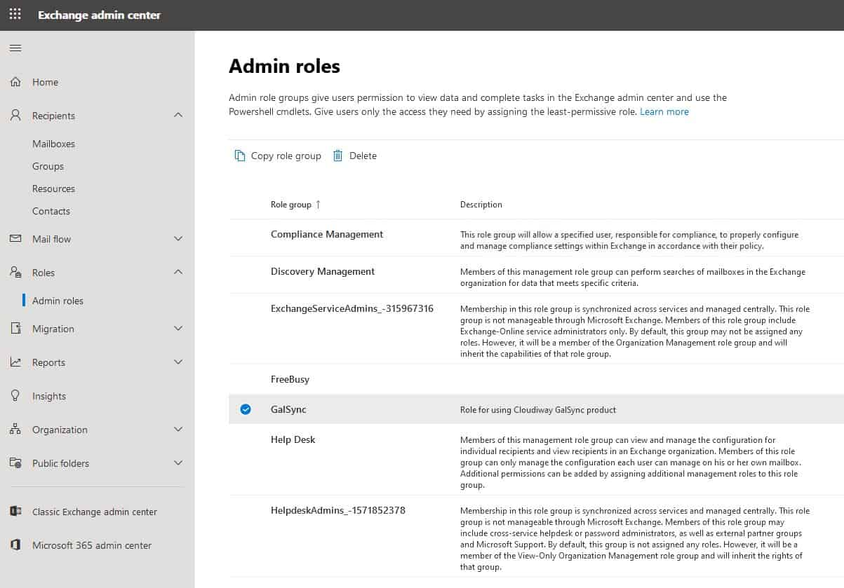 Exchange Admin Center Admin Roles