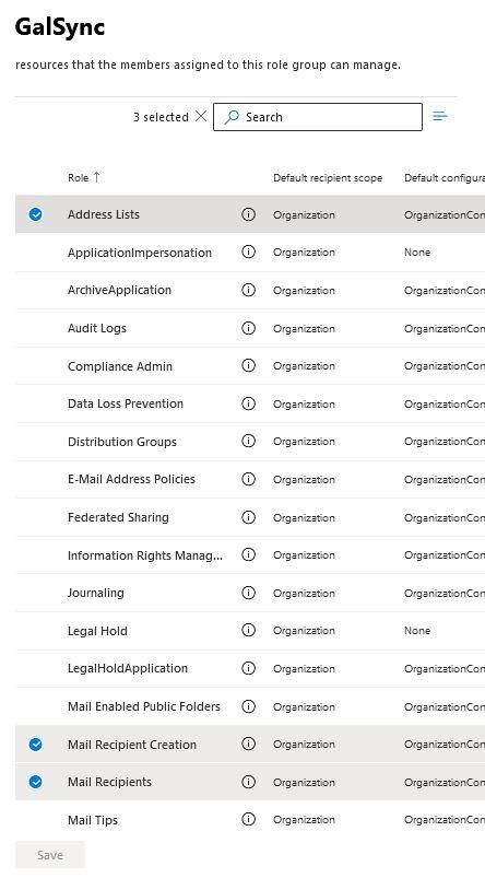 GALSync roles address list mail recipient